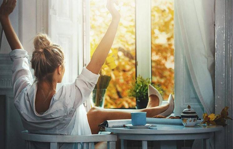жена, чай за отслабване, прозорец
