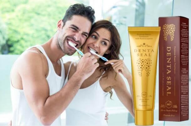 Denta Seal опаковка, мъж и жена си мият зъбите