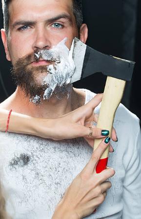 мъж, брада, брадва