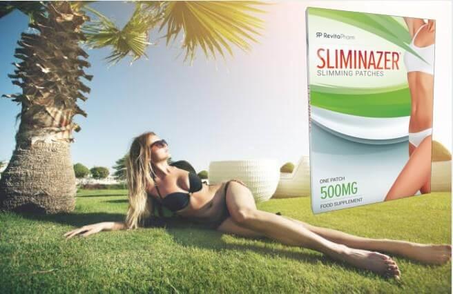 Sliminazer опаковка, момиче по бански под палма
