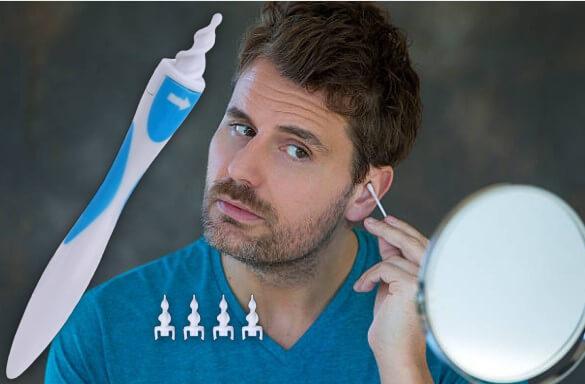 Smart Swab, мъж пред огледало с клечка за уши