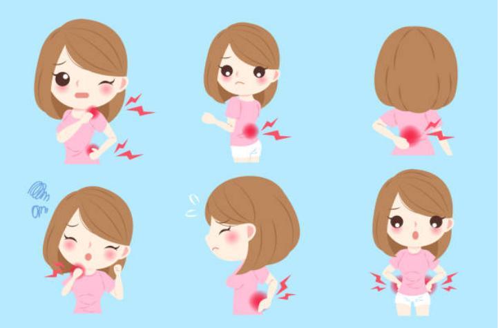 момиче с различни фази на болки в ставите