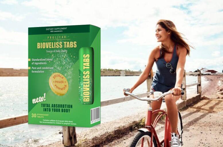 Bioveliss Tabs опаковка, момиче с колело