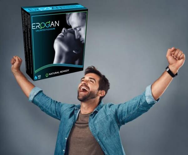 Erogan таблетки, доволен мъж
