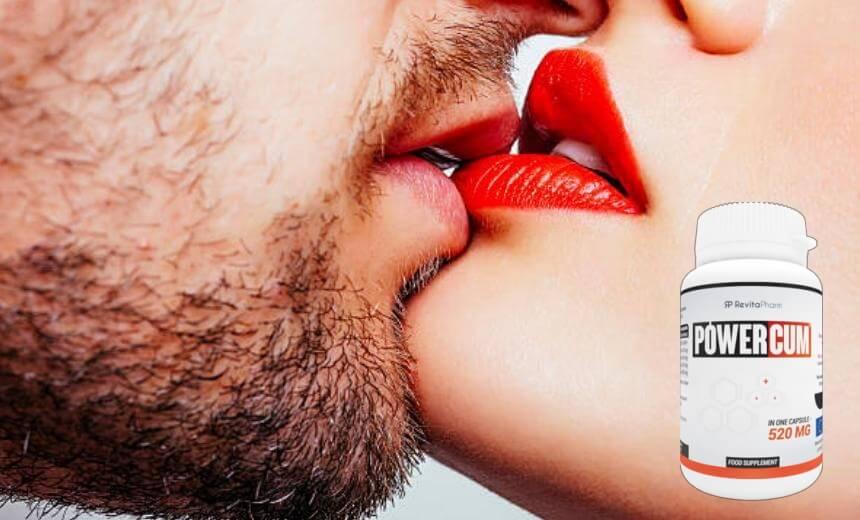 Powercum, мъж и жена се целуват