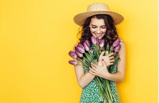 шапка, цветя, момиче