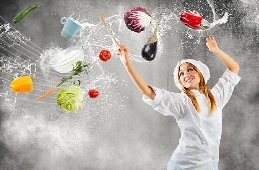 жена, зеленчуци