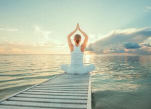 релаксация, жена, медитация, море