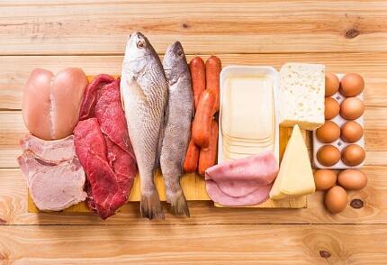 риба, яйца, месо